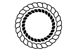 Monochrome circle rope frame vector
