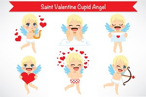 6 Saint Valentine Cupid Angel Cards