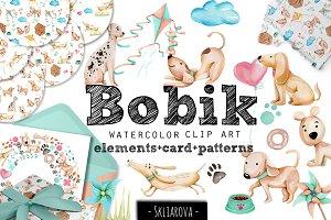 """Bobik"". Funny doggies clip art."