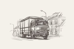 Retro Delivery Truck Hand drawn.