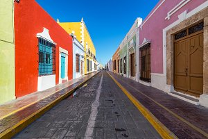 Beautiful Street in Campeche, Mexico