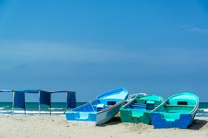 Blue Boats on Canoa Beach