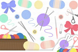 Knitting Cliparts Collection