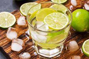 Cold drink with lime.