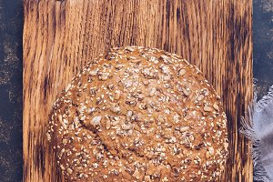 Rye bread of round shape.