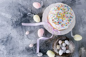 Decorative eggs sweets in the nest