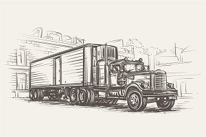 American Retro Truck illustration.