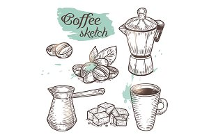 Outline coffee elements isolated on background.