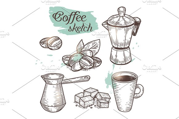 Outline Coffee Elements Isolated On Background