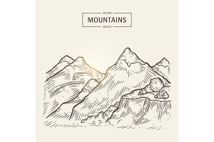 Sketch of mountains landscape. Vector highlands silhouette with hight rocks.