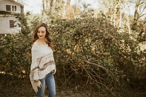 Girl in Sweater Outdoors