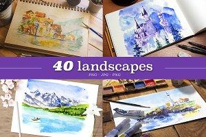 40 artistic landscapes, JPG+EPS