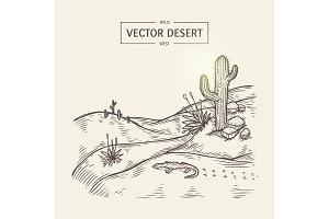 Sketch of a wilderness landscape. Vector desert silhouette with sand, cactus, stones and lizard.