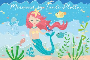 Mermaid Set of Cliparts