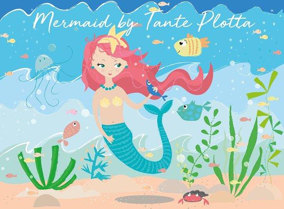 Mermaid Set Of Cliparts