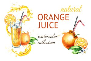 Natural Orange juice. Watercolor