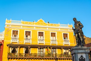Yellow Building and Statue