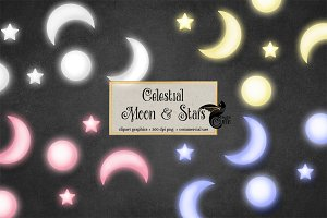 Celestial Moon and Stars Clipart
