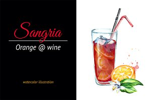 Sangria. Watercolor illustration
