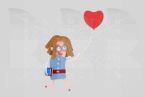 Girl chasing heart balloon love