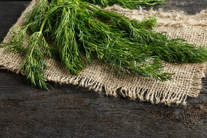 fresh dill and burlap on a dark wooden background