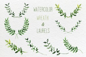 Watercolor set of wreath and laurels
