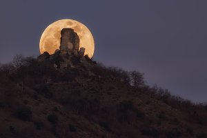 Full moon rising behind Gebara castl
