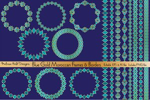 Blue Gold Moroccan Frames & Borders