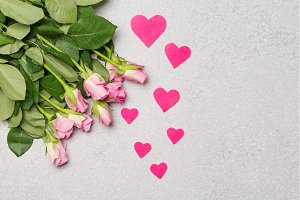 Pink roses and pink hearts