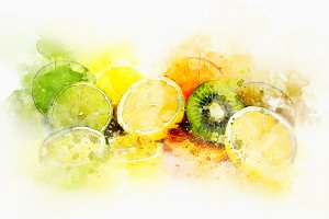 Watercolor Illustration Fruits