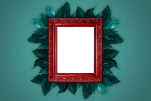 Red old rusty wooden picture frame