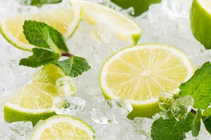 Sliced lime with ice.