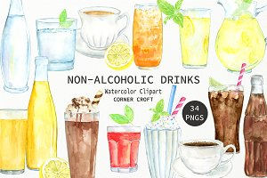 Watercolor non-alcoholic drinks