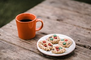 Coffee and cookies on a rustic table