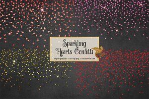 Hearts Confetti Overlays