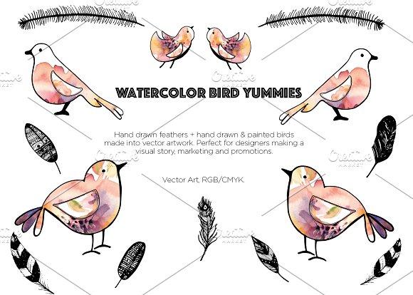 Watercolor Bird Yummies