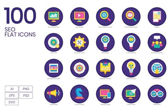 100 SEO Marketing Flat Icons
