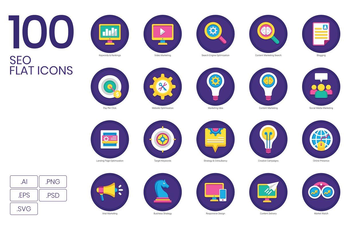 100 SEO & Marketing Flat Icons