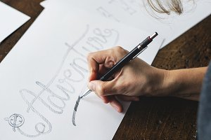Closeup of a calligrapher