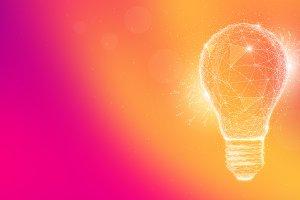 Polygon idea light bulb on multicolored background