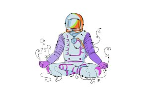 Cosmonaut Padmasana Position Doodle