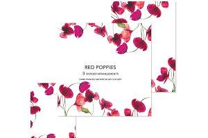 Watercolor Poppy Foliage Borders