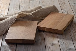 Two empty  chopping boards for dishe