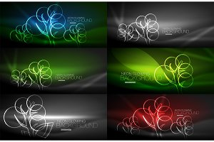 Set of geometric neon tree backgrounds