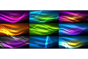 Set of neon smooth light glowing waves in the dark, abstract backgrounds