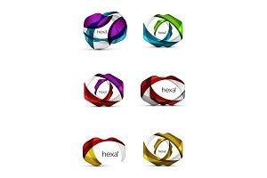 Set of hexagon shape business emblems
