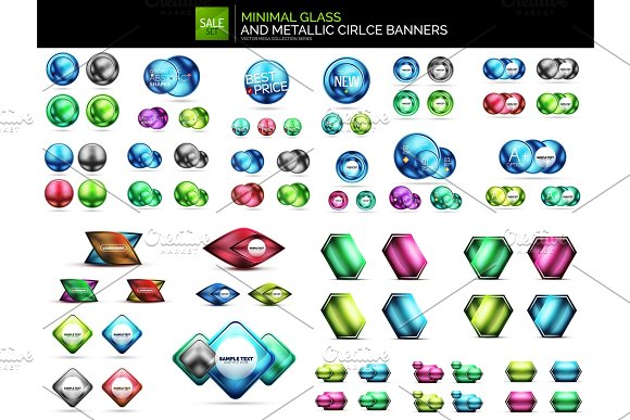 Metallic Glossy Color Abstract Shapes Vector Banner Layouts Buttons Mega Collection