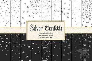 Silver Confetti Digital Paper
