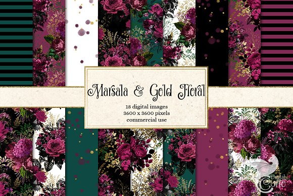 Marsala And Gold Floral Backgrounds