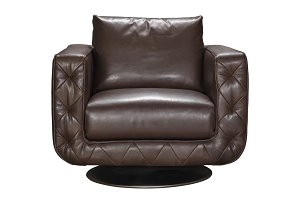 Armchair is made of genuine leather.